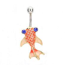 חדש אופנה מותג נירוסטה סגנון טבור טבעת פירסינג תכשיטי טבור בטן דג זהב פירסינג עגילים(China)