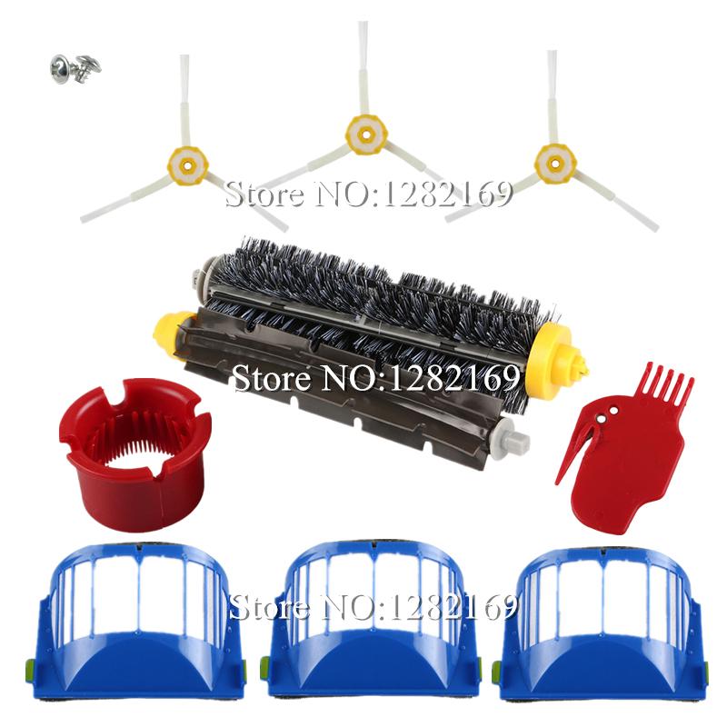 3x Robot Filter,3x Side Brush,2 Srew Beater Brush Kit Replacement for iRobot Roomba 600 Series 595 620 630 650 660,12 pcs/lot(China (Mainland))