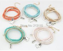 2014 New Fashion Beads Link Chain Heart Pendant Charming Bracelet Jewelry High Quality (China (Mainland))