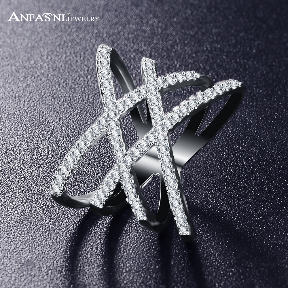 Hot!!! Fashion Rings for Women Double Letter X Shape Ring Zirconia Micro Paved Platinum Plated Women Anel CRI1029(China (Mainland))