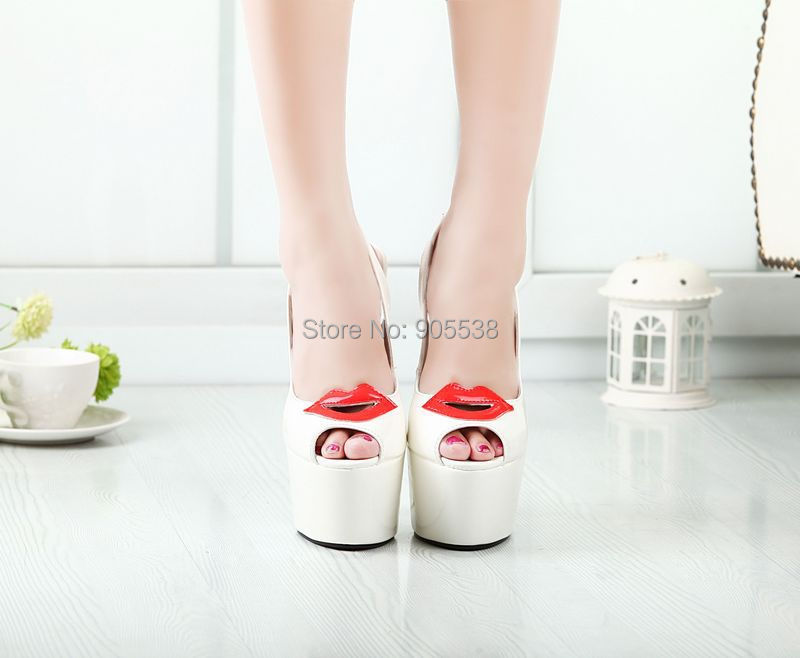 Eur 40-44 45 46 Hot selling red lips Patent Leather bottom 20cm thin high heeled fashion party shoes Cosplay summer pumps - Drop shipping store