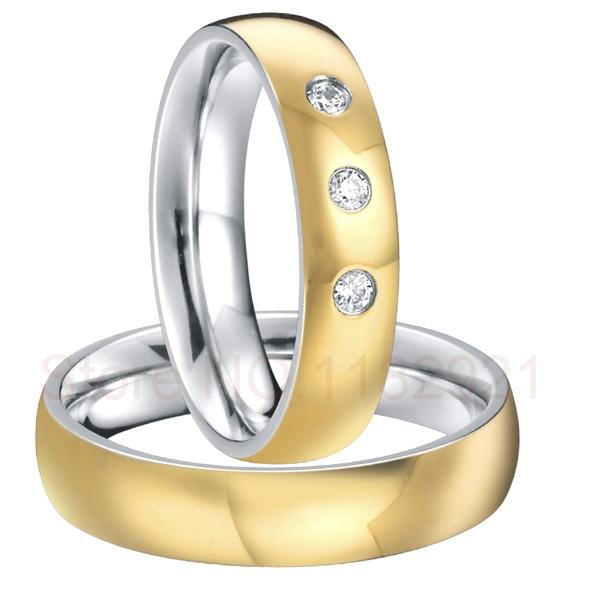 Gold plated titanium custom designed CZ diamonds rings for couples par de aliancas de casamento em ouro(China (Mainland))