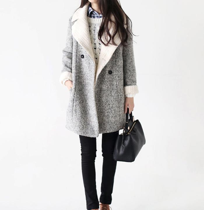 long manteau de laine gris femme cor enne double. Black Bedroom Furniture Sets. Home Design Ideas