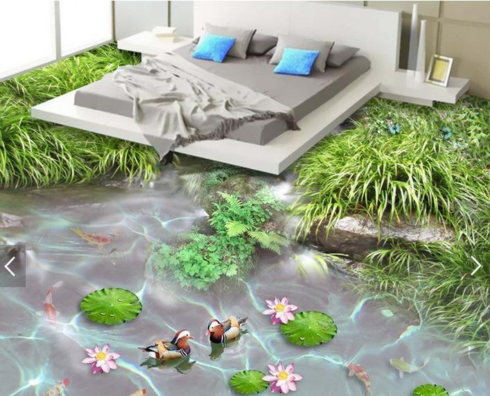3d landscape wallpaper customize 3d floor bathroom waterproof Skid Wear 3d flooring Butterfly wallpaper pvc vinyl floor mural(China (Mainland))