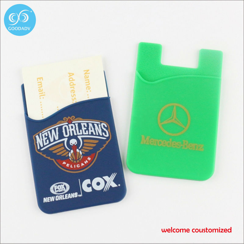 Free Shipping custom your own logo silicone phone wallet Credit Card Holder Wallet With Sticker Smart ID Card(China (Mainland))