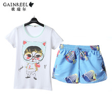 Song Riel cute cartoon printed short sleeved pajamas couple of men and women can Waichuan home