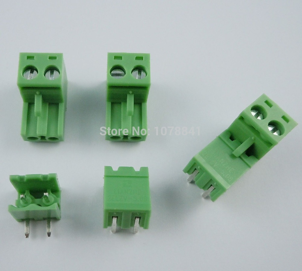 50 Pcs Per Lot 5.08mm Pitch Right Angle 2 pin 2 way Screw Terminal Block Plug Connector<br><br>Aliexpress