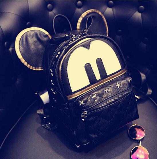 2015Cute Women Backpack cartoon brand backpack Mickey Ears Shoulder Bag women camouflage backpack AYO072901(China (Mainland))