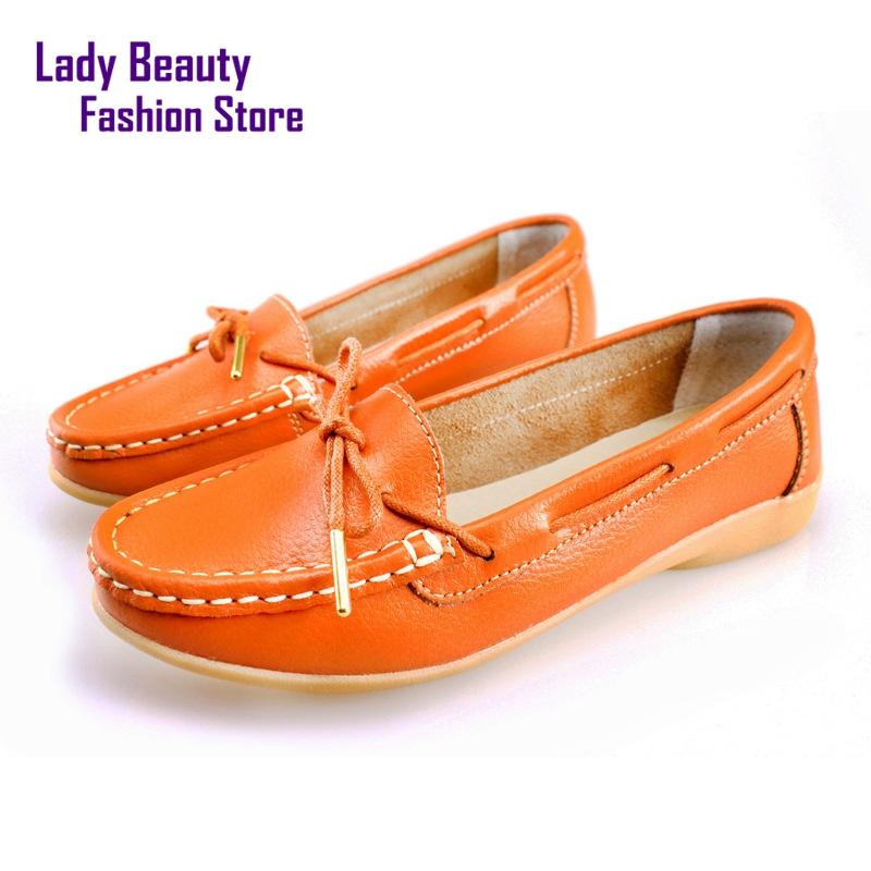Genuine Leather Slip-on Solid Color Bowtie Design Embossed Leather Round Toe for Women Flats Free Shipment<br><br>Aliexpress