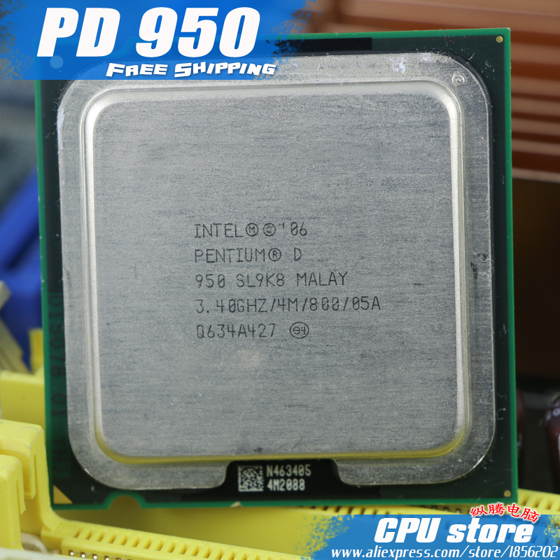 Intel Pentium D 950 CPU Processor (3.4Ghz/ 4M /800GHz) Socket 775 pd 950 pd950 (working 100% Free Shipping), sell pd 945 pd 960(China (Mainland))