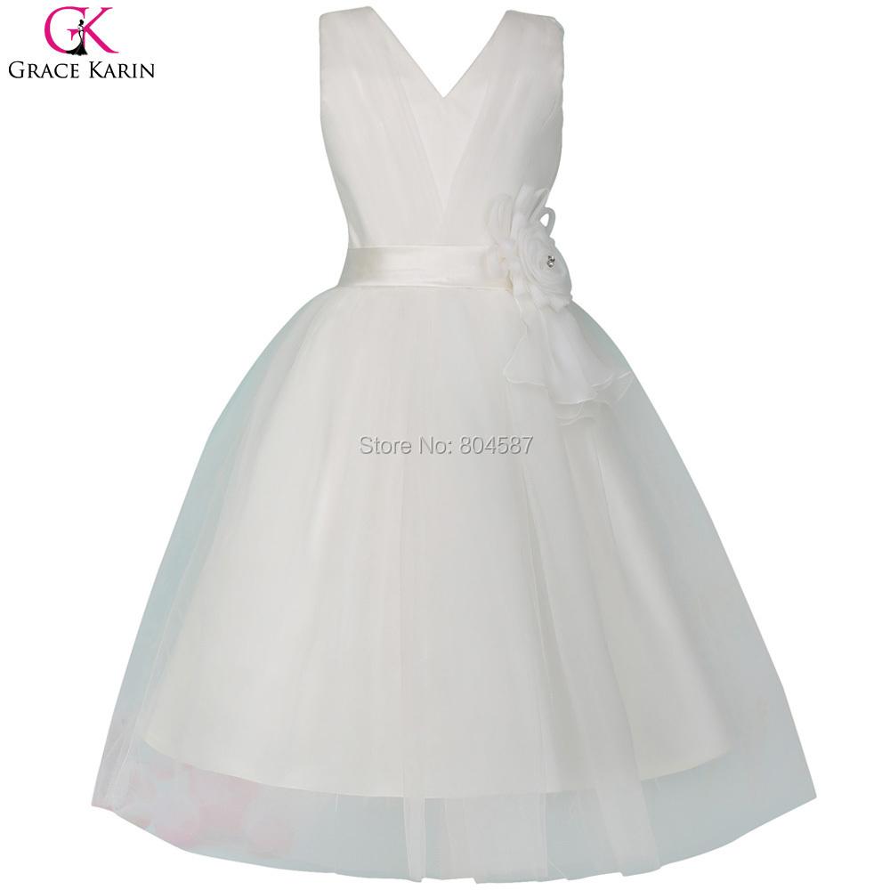 Princess Grace Karin Little Girls Evening Gowns For Kids Flower Girls Dresses White Flower Girl Dress Robe Ceremonie Fille 8905(China (Mainland))