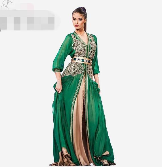 Long Sleeve Muslim Evening Dress Green Embroidery Dubai Kaftan Special Arabic Chiffon Kaftan Islamic Abaya without Belt(China (Mainland))