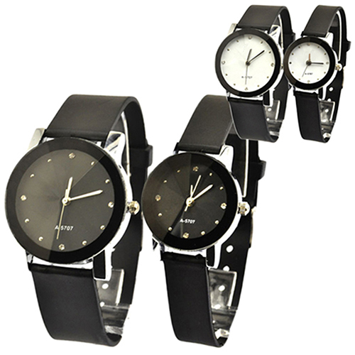 Faux Leather Couple Lover Wristwatches Oversize Round Dial and Quartz Wrist Watch New Design<br><br>Aliexpress