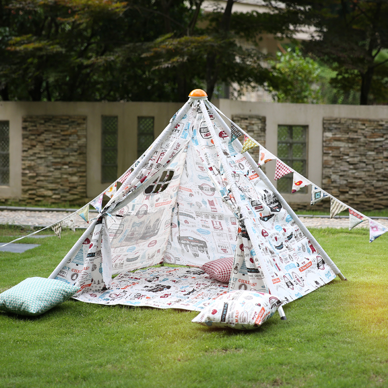 Outdoor Kids play park party Tent Printed Teepee Children Play Canvas Tipi Tents for Baby Room with window for sale(China (Mainland))