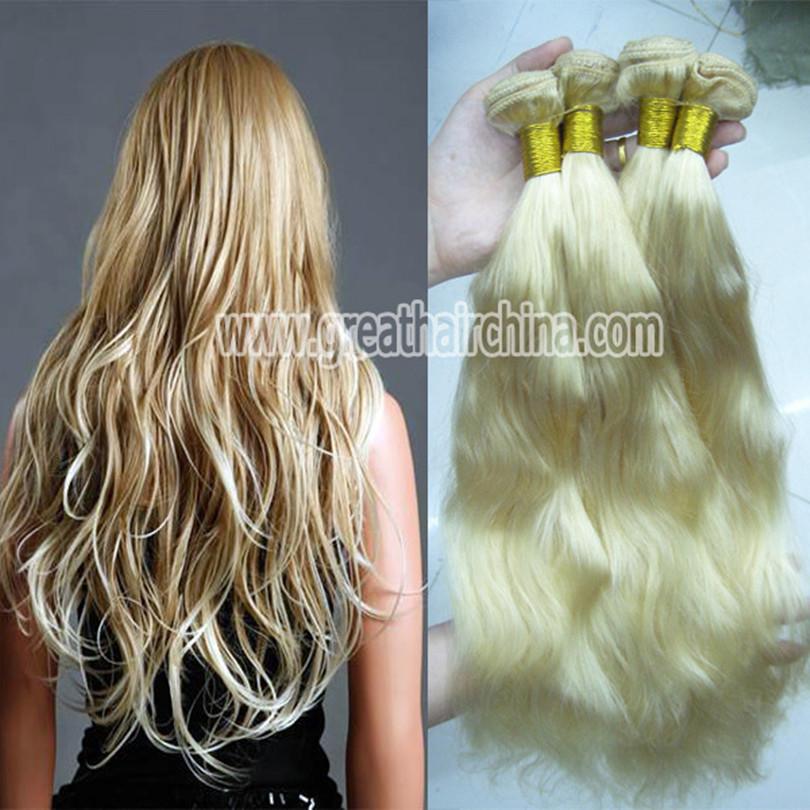 "Slavic Blonde Natural Wave Hair Extension, 16""-26"" 613# Pelo Humano Hair Weaving 3 Piece/Lot, Free Shipping(China (Mainland))"