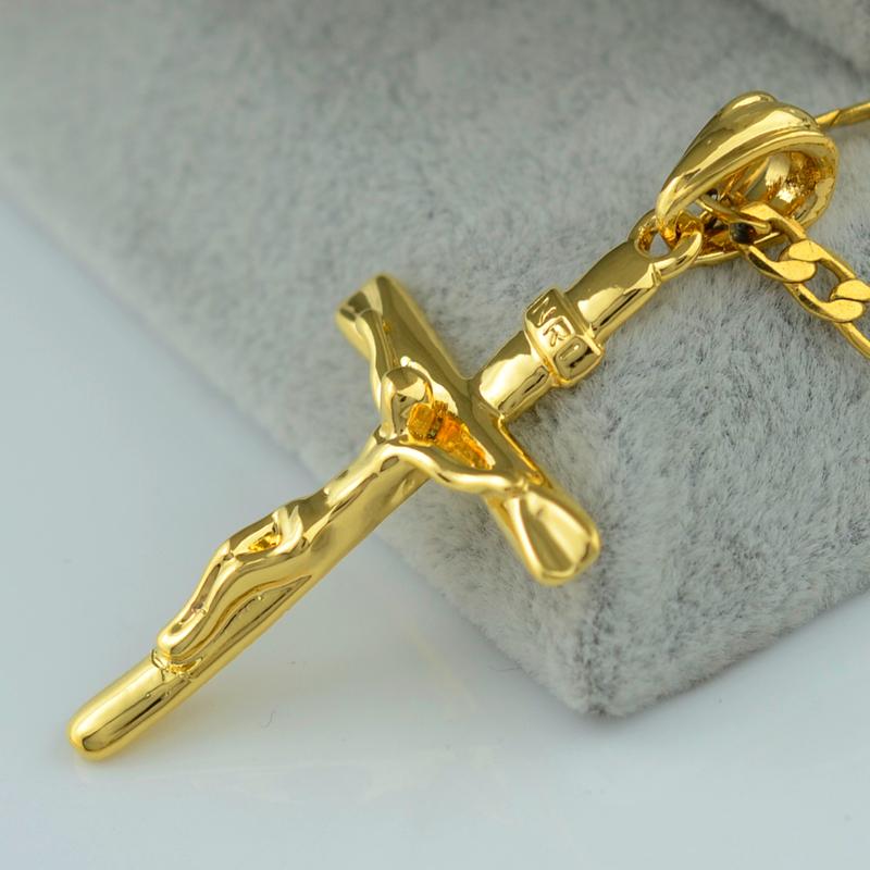 Men Cross Necklace Pendant Women INRI Juses Crucifix Christianity Jewel 18K Gold Plated INBI Jesus of Nazareth,King of the Jews<br><br>Aliexpress