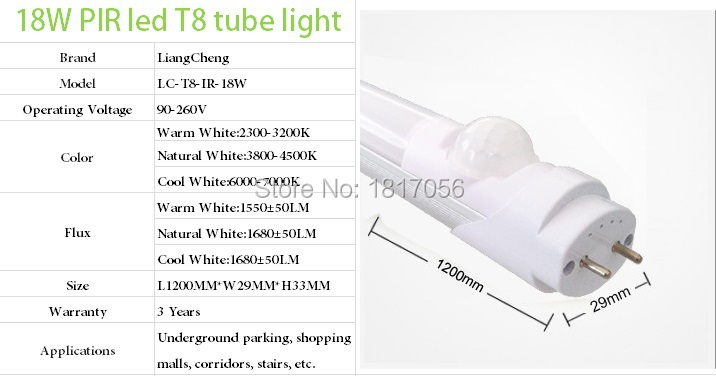 18W Parking lighting IR Sensor LED Tube,Replace the 40w fluorescent lamp tube compatible with inductive ballast remove starter(China (Mainland))