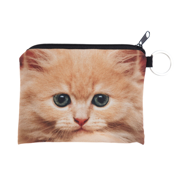Новый 3D печать рыжий кот мини-кошелька молния сумки мужчины и женщины женщин дизайнерские ...