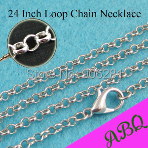 60cm (24 inch) Antique Silver Vintage Style Rolo chain necklace, Cable Chain, 24 Inch Loop Chain with Lobster Clasp Connected(China (Mainland))