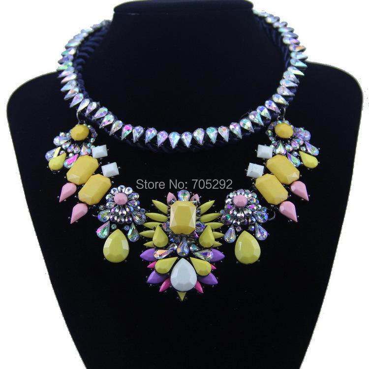 Новый Vintage Luxury Большой Хрустальный Цветок Кулон с Веревкой Цепи Колье Себе Ожерелье для Женщин