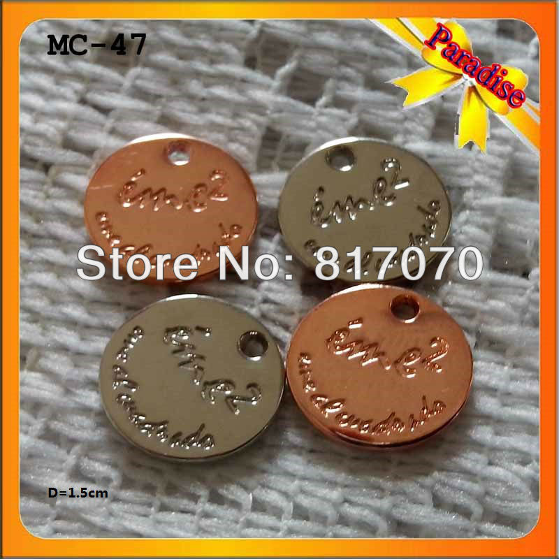 (MC-47)Hot !!! Small quanity silver/copper color zinc alloy metal tag for handbag metal chains bag chains(China (Mainland))