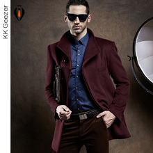 Winter Fashion Men Wool Blends Cashmere Coat Long Section Woolen Coat Duffle Overcoats Jackets Mandarin sleev Business Hot Sale(China (Mainland))