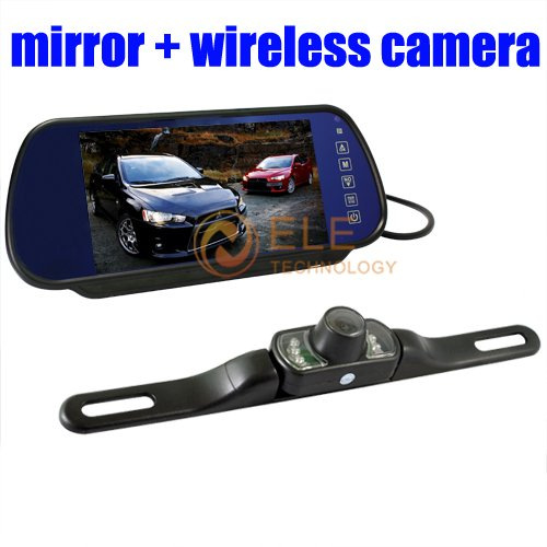7 inch car rearview mirror system with wireless car license camera