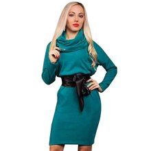 Women Long Sleeve Casul Mini Dress Loose Scarf Collar Straight Warm Dresses Autumn Winter Spring Vestidos Feminino XL(China (Mainland))