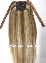 """16""""18""""20""""22""""24""""26""""28""""30""""32"""" soft indian remy clips in/on  human hair extensions horstail ponytail #12/613  80g 100g 120g 140g(China (Mainland))"""