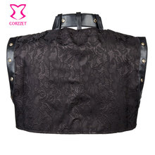Black Leather Collar Steampunk Sleeveless Jacket