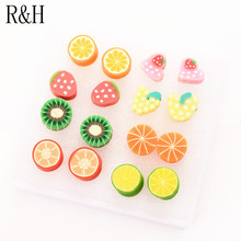 E161 Polymer clay fruit watermelon earrings For girls women brincos fashion cartoon ear jewelry 8 pairs/pack Stud Earring Sets(China (Mainland))