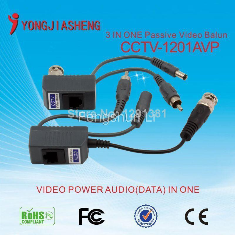 5Pairs free shipping Hot sale 3 in one video balun twisted pair transmitter passive video balun for CCTV BNC balun(China (Mainland))