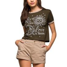 Sexy Summer Mon Sun Print T Shirt Women Heart-shaped Shirt Good Quality Comfortable Brand Casual Short Tops(China (Mainland))