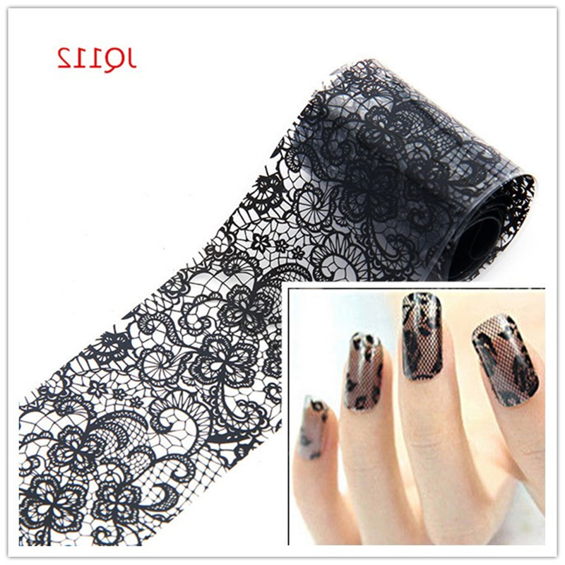 Beauty Black Lace Transfer Foil Nail Sticker Nail Decals DIY Wraps Manicure Tools French Tips Free