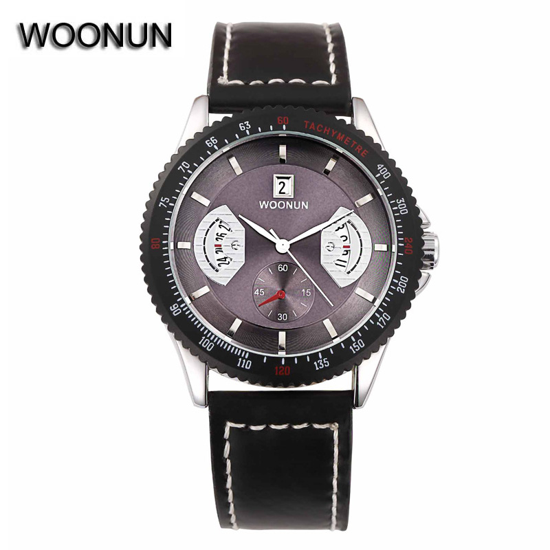 2016 New Men Quartz Hour Date Clock Men Casual Sports Watches Men Leather Wrist Military Watch Brand WOONUN Relogio Masculino<br><br>Aliexpress
