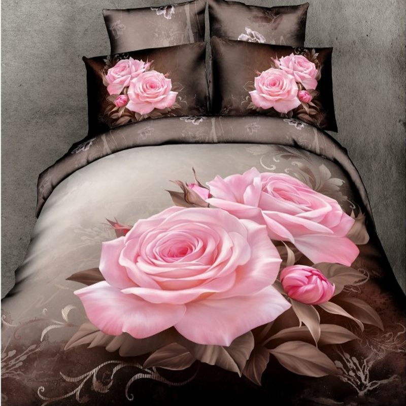 Pink Chinese rose 3d bedding sets queen size 4pcs brown comforter/duvet cover bed linen flowers bedclothes cotton home textile(China (Mainland))