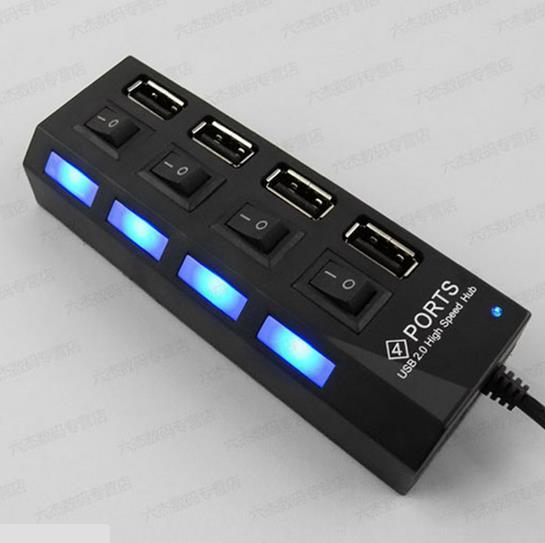 4 Port USB 2.0 High Speed 480 Mbps Adapter HUB ON/OFF Sharing Switch USB Port micro usb splitter hub For Laptop PC AY088-SZ(China (Mainland))