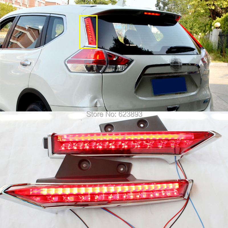 Car styling Fit Nissan Rogue X-Trail 2014-2016 Rear Window decoration lamp led brake light(China (Mainland))