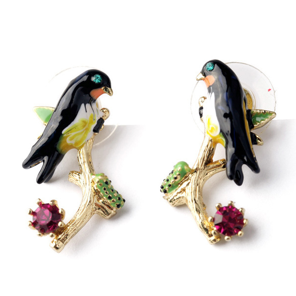 Les Nereides New Arrival Swallow Branch Gem Stud Earring For Women Fanshon France Brand Jewelry(China (Mainland))