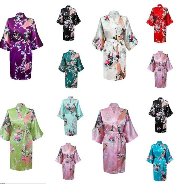 Rb014 2015 новый летний стиль китайских женщин шелковый район халат кимоно ванна ...