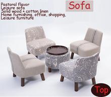Pastoral style of fabric sofa,wood sofa set,leisure chairs,living room furniture,Japanese style sofa,100%cotton living room sofa(China (Mainland))