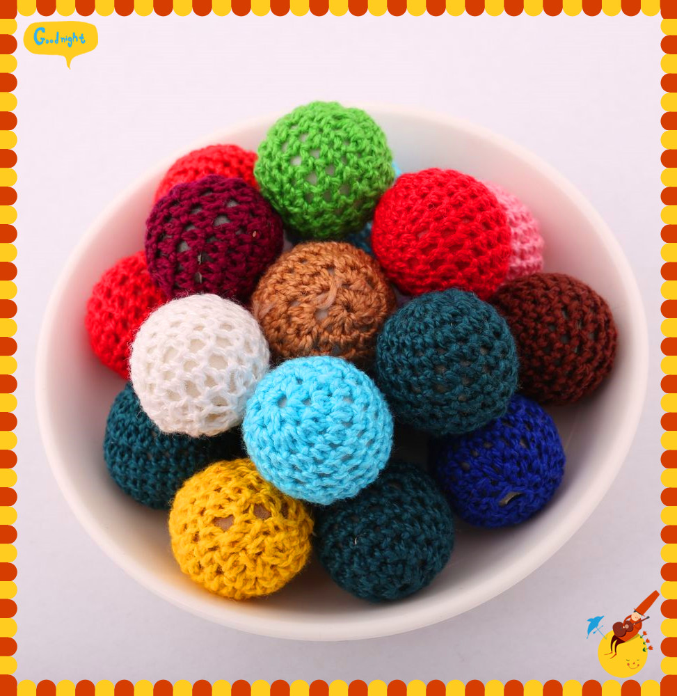 Mixed colors Chunky Round 20MM Acrylic Handmade Woven Crochet Beads Free Shipping 100 Pieces Jewelry Chunky Wool Beads(China (Mainland))