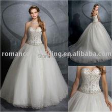 ML0023 Gorgeous Beaded Strapless Tulle Free Shipping Cinderella Wedding Dress(China (Mainland))