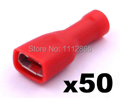50x Red Female 6.3mm Spade Connector Insulated Crimp Terminals Electrical Wiring<br><br>Aliexpress