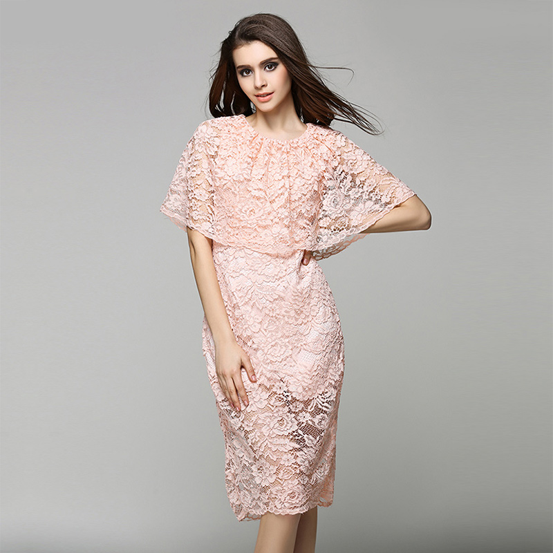 Europe and America Cape Style Cloak Top Half Sleeve Faux-two Piece Knee Length Elegant Hollow Out Roses Lace Dress(China (Mainland))