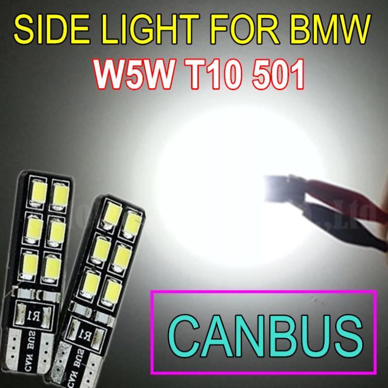 2pcs Bright White T10 LED 501 W5W 12SMD 12V CANBUS Car Light Source Side Light Bulb For BMW E36 E38 E39 E46 E53 E60 E63 E65 E66(China (Mainland))