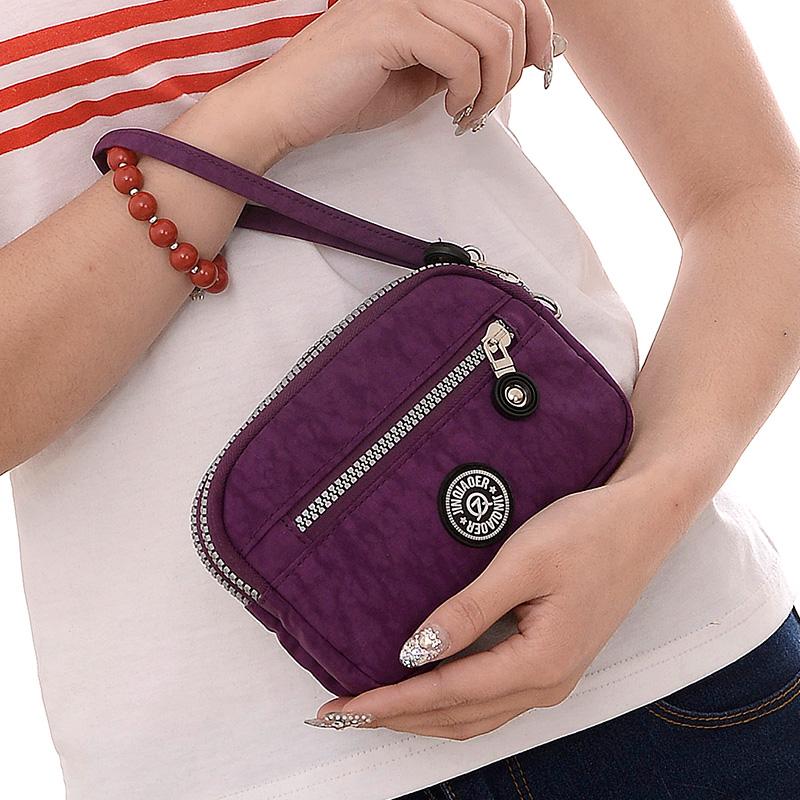 Mini women wallets multi-layer fashion clutch handbag clutch coin purse nylon cloth double zipper mobile phone bag<br><br>Aliexpress