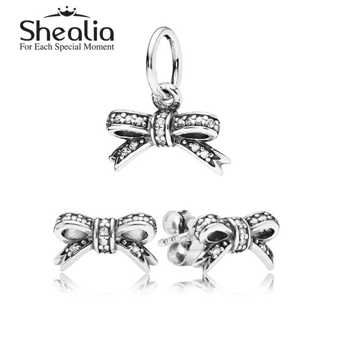 2015 New Authentic 925 Sterling Silver Jewelry Sets-Pave Bowknot Charms Pendant /Stud EarringsFor Women DIY Accessories TZ005