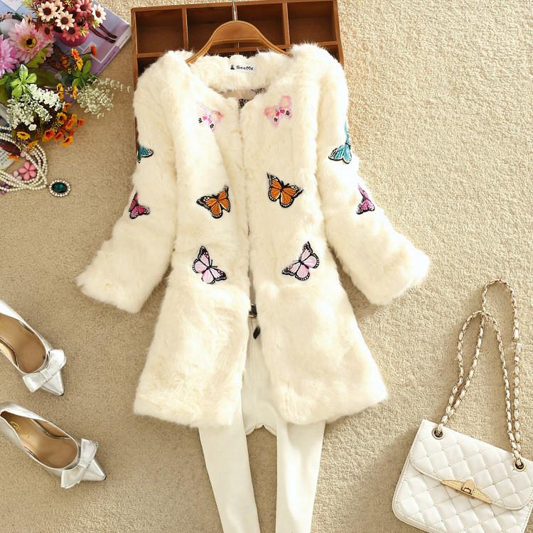 Hot Girls Long Style Fox Fur Coat Rabbit Clothes Butterfly Print Sweet Women long Warm White Black Faux Jackets HF16