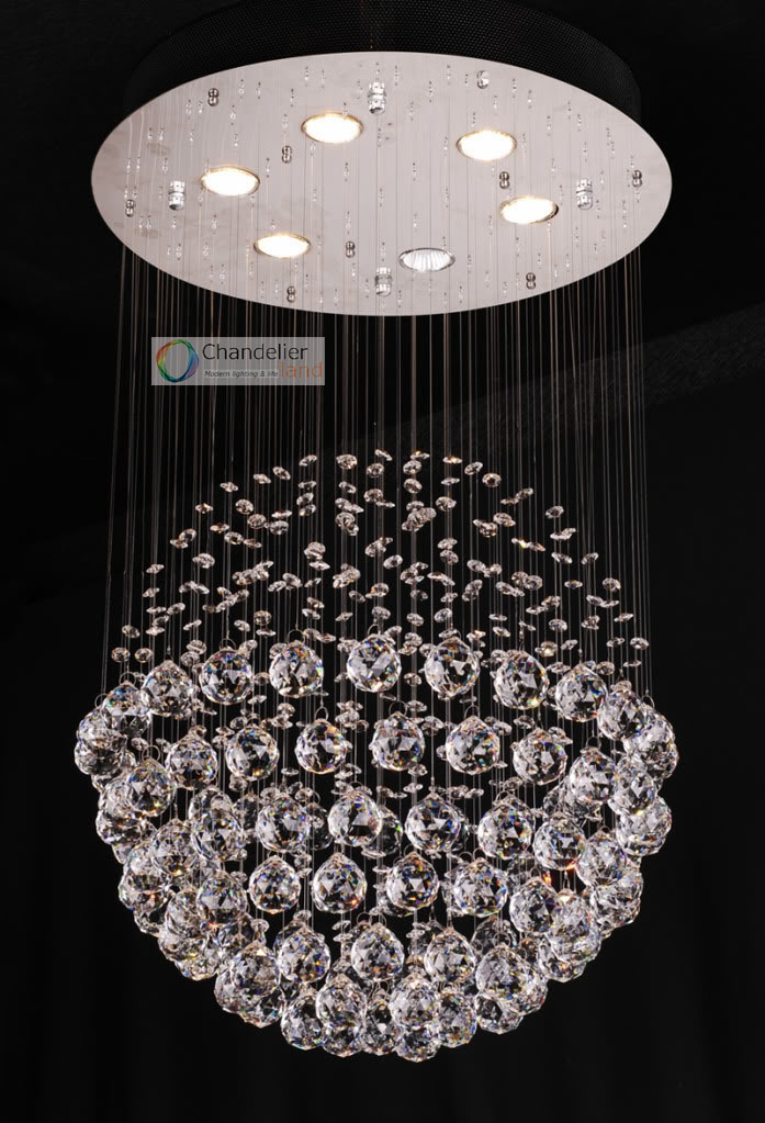 6 lights w19 5 x h39 5 clear spherical crystal chandelier round ceiling lamp raindrop design - Ceiling crystal chandelier ...